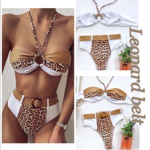 Other - NWT L 10-12 Tan leopard buckle belt high waist